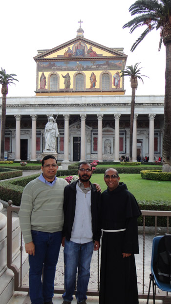 1 Albano with classmates Fr. Monogar and Friar Anthony at Basilica of Saint Paul outside the Walls Rome 350