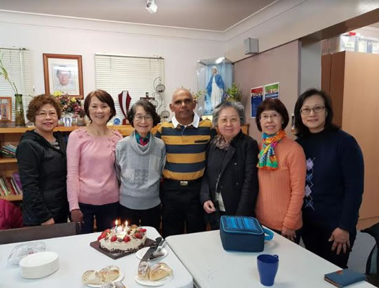 Fr James Areechira with Cantonese chaplaincy group 550